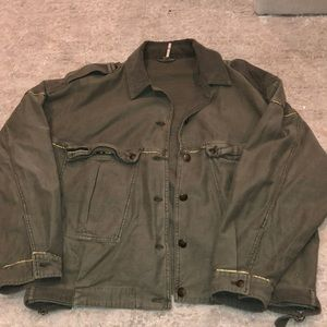 New Free People Cropped Green Military Jacket